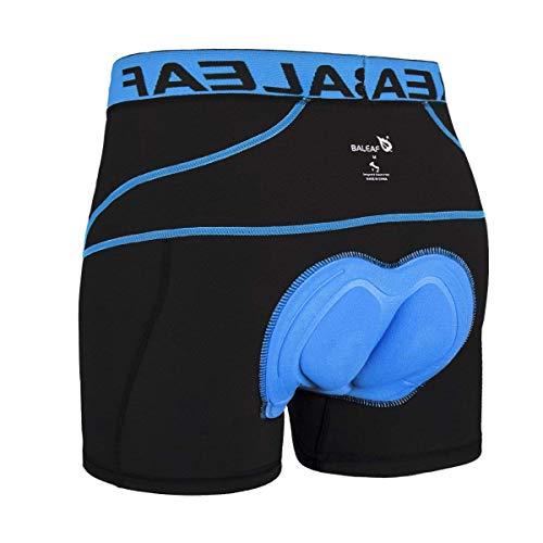 BALEAF Men's 3D Padded Cycling Underwear Shorts - Bike Undershorts Bicycle MTB Underpants Blue L
