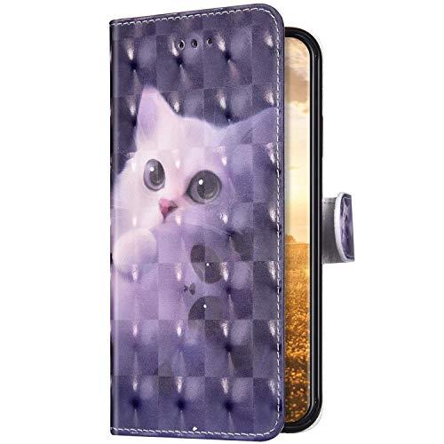 Uposao Kompatibel mit Samsung Galaxy A11 Hülle Schutzhülle Leder Hülle Glänzend Bling Glitzer Muster Vintage Handyhülle Tasche Klapphülle Wallet Flip Case Ständer Kartenfächer,Katze