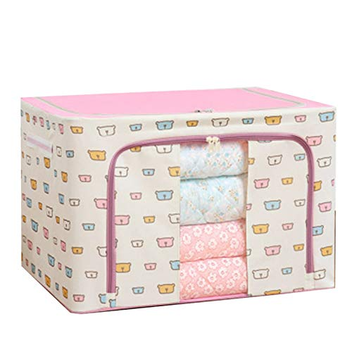 Ammily Caja de almacenamiento de tela Oxford con marco de acero para ropa, sábanas, mantas, almohadas, zapatero organizador