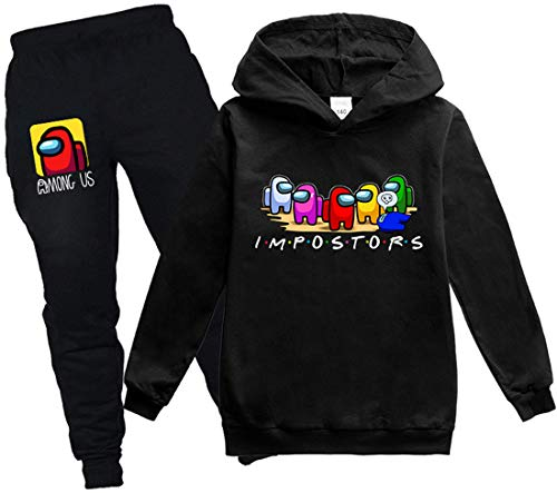 Chaos World Jungen Among Us Hoodie Set Kinder Gedruckt Casual Streetwear Pullover(Schwarz2,120)