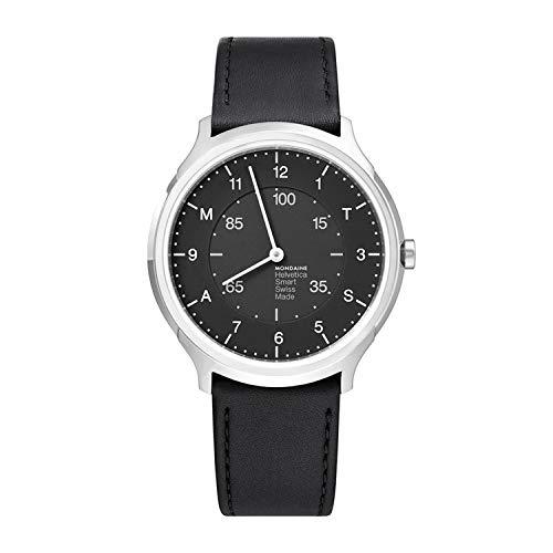 Mondaine Helvetica Smartwatch - Schwarze Lederuhr für Herren und Damen, MH1.R2S20.LB, 40 MM