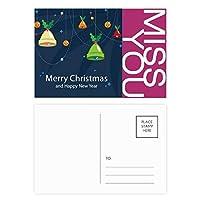 クリスマスベルメリー・クリスマス・フェスティバル ポストカードセットサンクスカード郵送側20個ミス