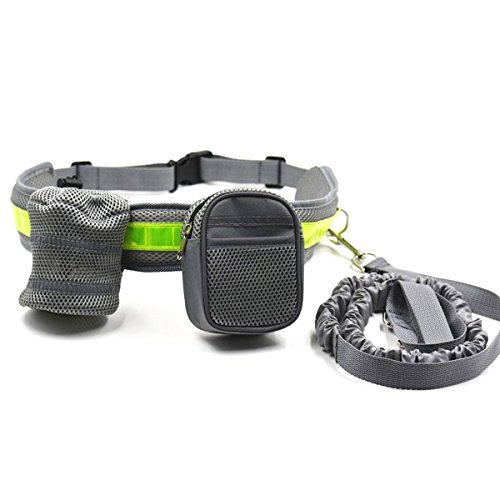 Dealit Cintura Regolabile in Cintura con Chiusura a Zip Sacco da Cane con Cintura Riflettente Cani Elastici per Passeggiate(Grigio)