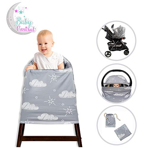 Baby Carrier Cover, Baby Nursing Cover, Stroller Cover, Shopping Cart Liner, Mommy and Baby Protection & Privacy (Gray)