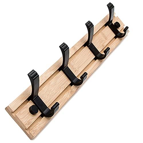 ZHIWUJIA Percha Perchero de Pared Gancho móvil Diseño sin Perforaciones Fuerte Soporte de Carga Estante para Bolsas por Oficina/Dormitorio (3 Ganchos / 4 Ganchos)(Size:40x1.2x6cm/15.7x0.5x2.4in)