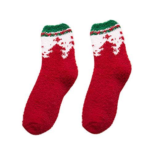 BXzhiri - 5 Pares de Calcetines de Invierno cálidos para Mujer y niña, Suaves para Dormir en el Piso, Calcetines de Navidad, B, A