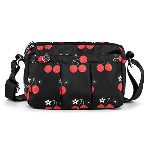 LaRechor Damen Frauen Umhängetasche Schultertasche Reisetasche Klein Nylon Sommer Tasche mit 5 Fächer Kleine Leicht Niedlich (Kirsche)