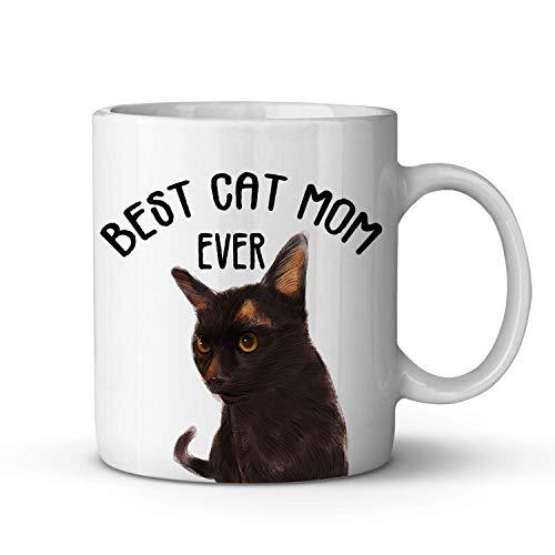 Best Cat Mom Ever Coffee Mug - Taza de café Havana Brown con diseño divertido de gato para mamá amante de los gatos - Taza de té de cerámica ideal para regalar a mamá, mujer, madre, amigos, cumpleaños