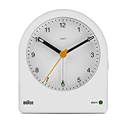 Braun Classic Analogue Alarm Clock with Snooze and Continuous Backlight, Quiet Quartz Movement, Crescendo Beep Alarm in White, Model BC22W.