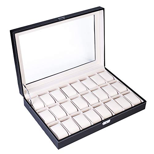 LOEAPEA Watch Box 24 Slot Elegant Portable Black Watch Collection Box Case Organizer for Storage Display Holds Watches Jewelry for Men & Women