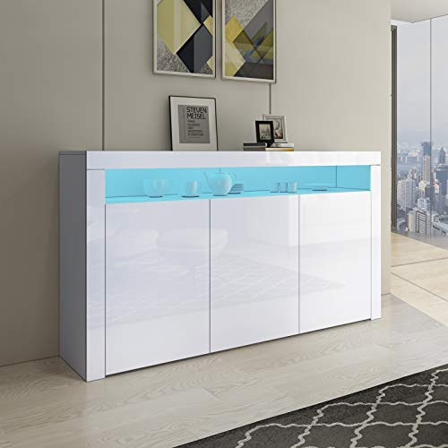 Senvoziii LED Sideboard Storage Cabinet Cupboard Unit 3 Doors with Open Case High Gloss TV Stand Unit for Dining Room Living Room (White)