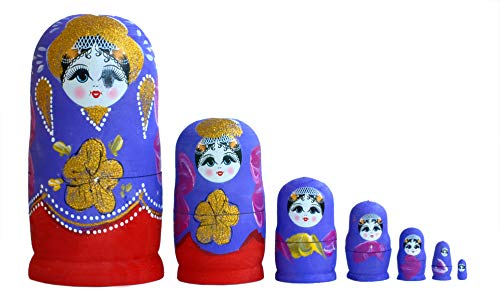 CUCUBA Matrioska Matriosca Russa Set da 7 Bambole Coloratissime in Legno