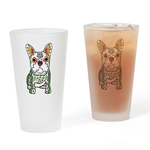 CafePress Sugar Skull Frenchie Pint Glass, 16 oz. Drinking Glass