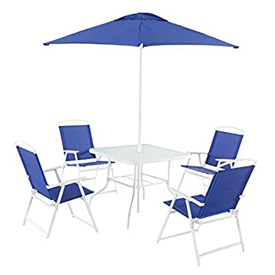Mainstays Albany Lane 6-Piece Folding Seating Set (Blue)