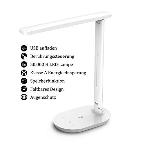 TaoTronics Schreibtischlampe LED, Memory Funktion Tischlampe, 3 Farb und 5 Helligkeitsstufen Dimmbar Tischleuchte mit Touchbedienung, Tragbar, Augenschutz für Büro, Lesen, Studieren