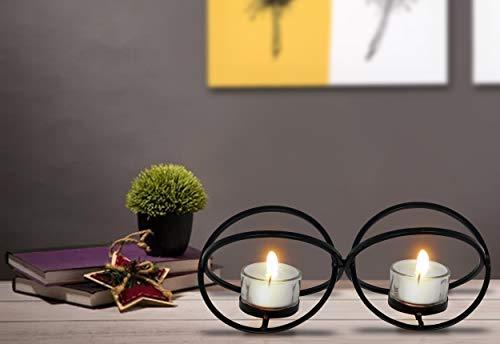 Portavelas de metal con cintas atadas, para decoración de Navidad, para sala de estar, oficina, para familiares y amigos.