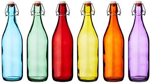 Bar @ drinkstuff Botellas colgantes de vidrio coloreado 1 litro - Juego de 6 - Botellas rojas, azules, naranjas, verdes, amarillas y moradas