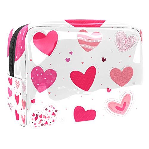 Bolsa de maquillaje portátil con cremallera bolsa de aseo de viaje para las mujeres práctico almacenamiento cosmético bolsa dibujado a mano corazones