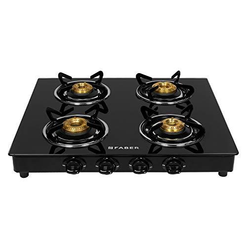 Faber 4 Burner Glass Cooktop Power 4BB BK Manual Ignition Gas Stove (Black)