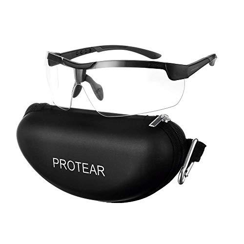 PROTEAR Schießbrille mit Anti-Beschlag und kratzbeständigen klar Linse, Schutzbrille mit Seitenschutz, Verstellbar und rutschfesten Bügel, UV-Schutz, Sportbrille für Radler