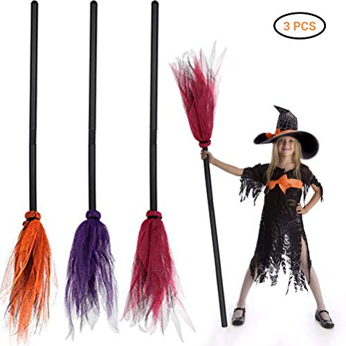 ExH 3PCS Halloween Hexenbesen Besen für die Hexe Hexenbesen Zauberbesen Plastikbesen Requisiten für Kinder Halloween Karneval Kostüm Party Dekoration (Orange+lila+Rot)