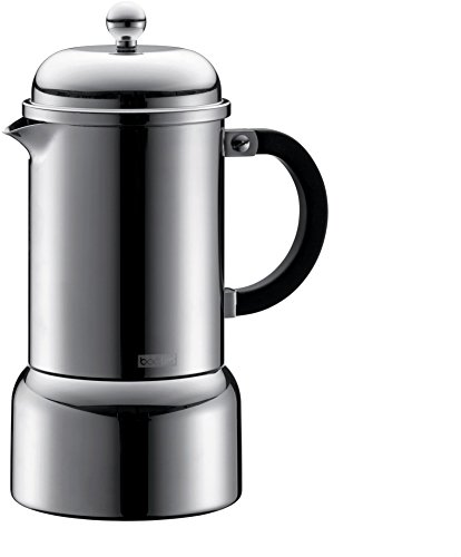 Bodum Chambord Espresso Maker 6 Tassen Induktion, Edelstahl, Silber, 21 x 10.5 x 16 cm