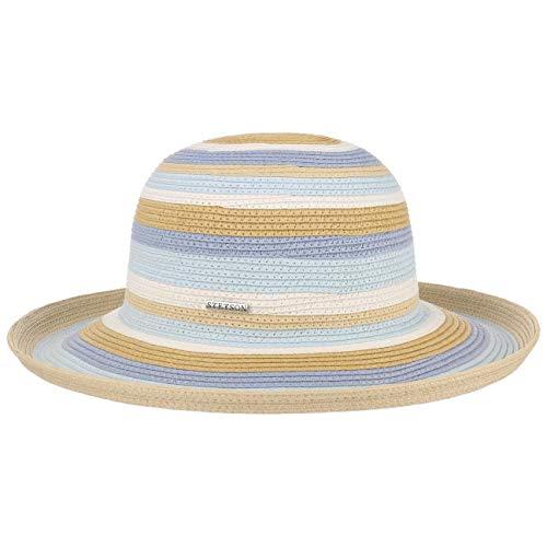 Stetson Ladies Stripes Schlapphut Viskosehut Damenhut Sommerhut Sonnenhut Stoffhut Damen - Frühling-Sommer - L (58-59 cm) beige-blau