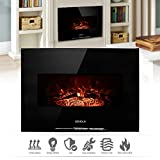 """Geniqua 26"""" Wall Mounted Electric Fireplace Heater 700w/1400w Log LED Flame Indoor"""
