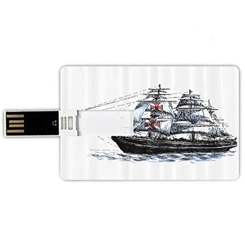USB-Sticks 32GB Kreditkartenform Apartment Set Memory Stick-Bankkartenstil Altes datiertes gealtertes Columbus-Schiff,das im imaginären Atlantik-Reise-Reise-Druck segelt, Wasserdichte stift daumen sch