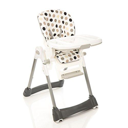 Fillikid Chaise haute Aron Pois Beige 8 vitesses Hauteur réglable
