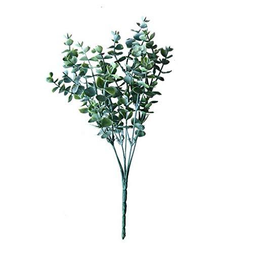 HINK Planta Verde de eucalipto de Seda Falsa Artificial Flores Decoración del jardín del hogar de la Boda, Decoración del hogar del día de San Valentín