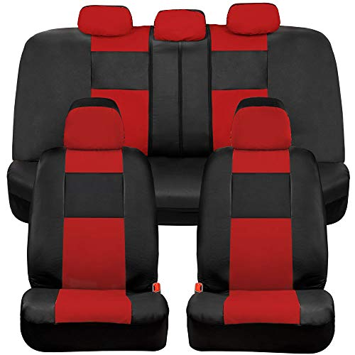 BDK Croc Skin Faux Leather Car Seat Covers, Full Set Red – Universal Fit Design, Airbag Compatible, Front and Back Seat Cover for Cars Trucks Vans and SUVs
