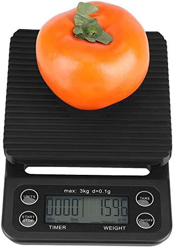 GXT Báscula de Cocina Digital, 3kg / 0.1g Electronic LCD Digital Kitchen Food Scale de Goteo de café Que Pesa con Temporizador Pequeña