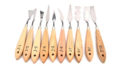 Palette Knife Set for Artists by Garloy,10 Pcs Stainless Steel Oil Paint Knives Within Thin and Flexible Spatulas Art Tools for Oil Painting Acrylic Mixing
