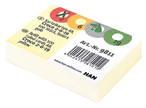 HAN 9811 Karteikarten für Croco 2-6-19, 190 g/m², 100 Stück in Folie, gelb