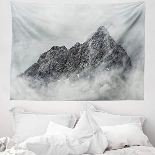 ABAKUHAUS Naturaleza Tapiz de Pared y Cubrecama Suave, Pico De La Montaña Brumosa, Fácil de Lavar No Destiñe, 150 x 110 cm, Gris Blanco