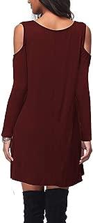 Women's Long Sleeves Off-Shoulder V-Neck T-Shirt Shorts Dress/Elastic Waist Casual Sexy Midi Mini