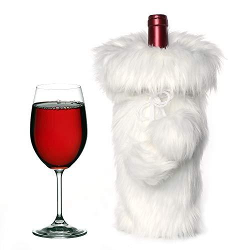 AerWo Weinflaschenbezug aus Kunstfell, handgefertigt, 33 x 15 cm, für Weihnachten, Wein-Geschenktüten für Urlaub, Party, Dekoration