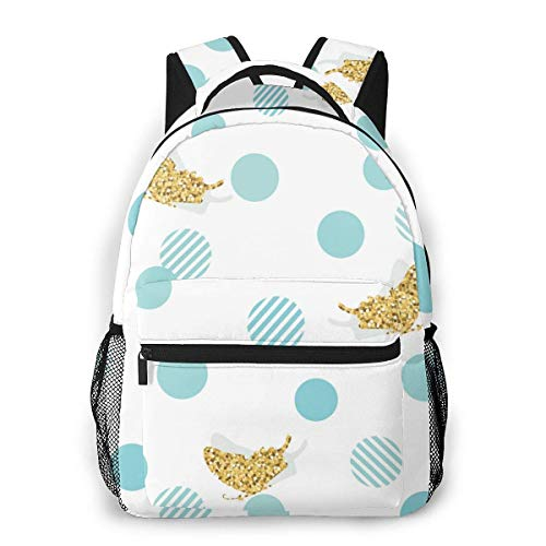 Lawenp School Backpacks Glitter Confetti Butterflies and Polka Dots for Teen Girls&Boys 16 Inch Backpack Student Bookbags Laptop Casual Rucksack Travel Backpack