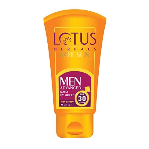 Lotus Herbals Safe Sun Men Advanced Daily UV Shield SPF 30 PA+++ Non-Greasy All Skin Types (100g)