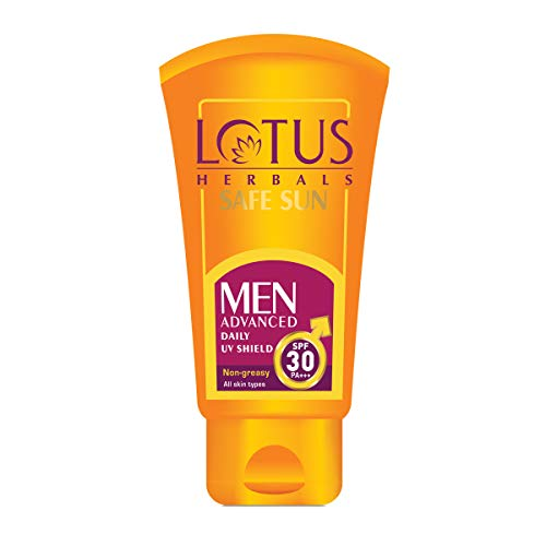 Lotus Herbals Safe Sun Men Advanced Daily UV Shield SPF 30 PA+++ Non-Greasy All Skin Types (100g)