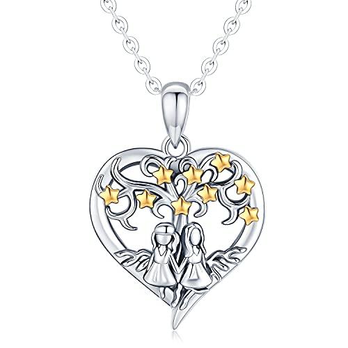 Collar de corazón de árbol de la vida para mujer, collar con colgante de hermanas de amante de plata de ley, cadena de 18 ', joyería de circonita de estrella de árbol de la vida, regalos para mujeres