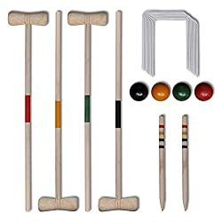 【Beach Game】This traditional wooden croquet set, suitable for 4 players, is perfect for playing in the garden or at the beach. Made of solid pine wood, the croquet set is sturdy and strong for years of fun. 【Outdoor Game】This outdoor game requires co...