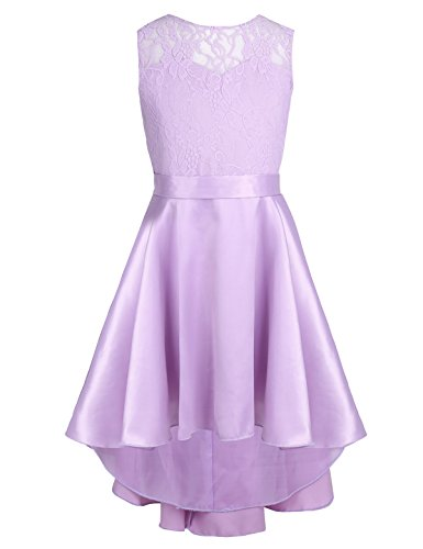 Freebily Kids Princess Dress Wedding Bridesmaid Birthday Party Flower Girls Dress Sleeveless Lace High-Low Hem Dress Navy Lavender 14