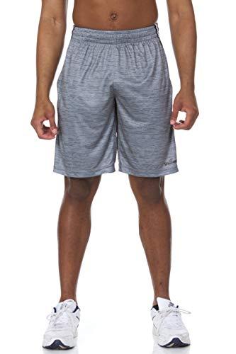 Spalding Mens Interlock Stack Active Athletic Gym Training Basketball Shorts, Concrete, M