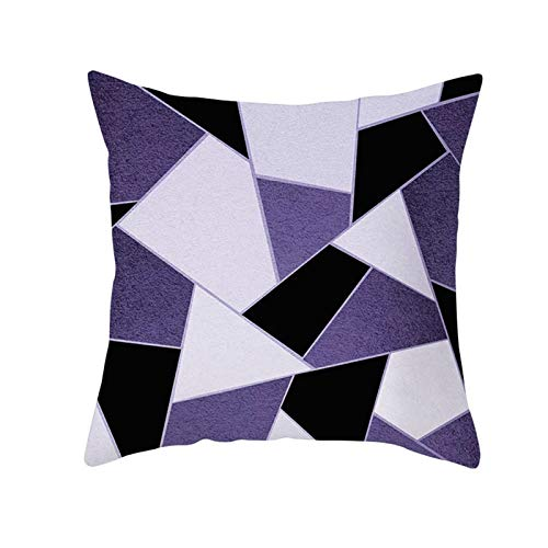 KnBoB Funda de Almohada Poliéster Geometría Púrpura Negro 40 x 40 cm Estilo 7