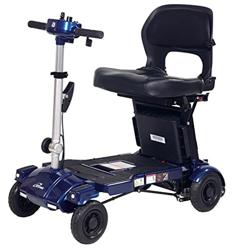 iLiving i3 Foldable Electric Scooter Mobility for Seniors and Adults, Alternative to Wheelchair, Portable and Travel Friendly – Upgraded Seat, 17 Inch, 53 Pounds (Blue)