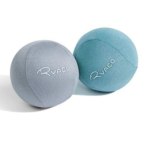Ryaco Juego de 2 Bolas antiestrés de Gel para Ejercicios de Manos, Juego de 2 Bolas de Gel Blando y Duro para Adultos y niños: Alivio de la ansiedad (Verde y Gris)