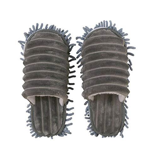 AMhomely EIN Paar Multifunktions-Mop-Pantoffeln - Männer und Frauen Faule mopp Hausschuhe gehen Reinigung Staub warm langlebig polieren Boden 1 Paar (Grau, L)