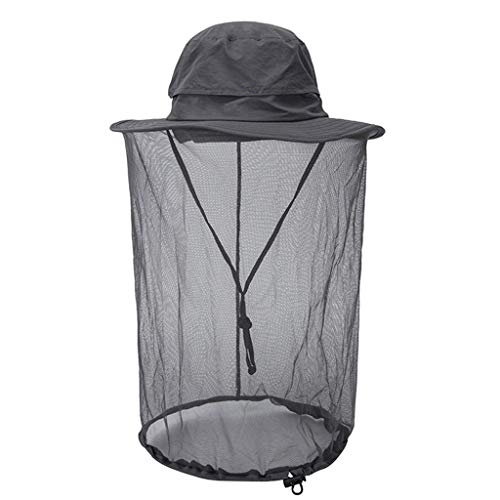 Aiaban Mosquito Adjustable Head Net Hat w/Hidden Mesh Sun Protection Bugs Bees Pest for Gardening, Fishing, Hunting, Farming, Camping, Hiking, Traveling (Gray)
